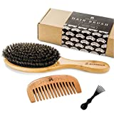 Haarbürste aus Wildschweinborsten für natürliche Haarkonditionierung, Holzkamm zur...